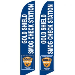 Checker Flag (Gold Shield Smog Check Station-Blue) Flags For Sale